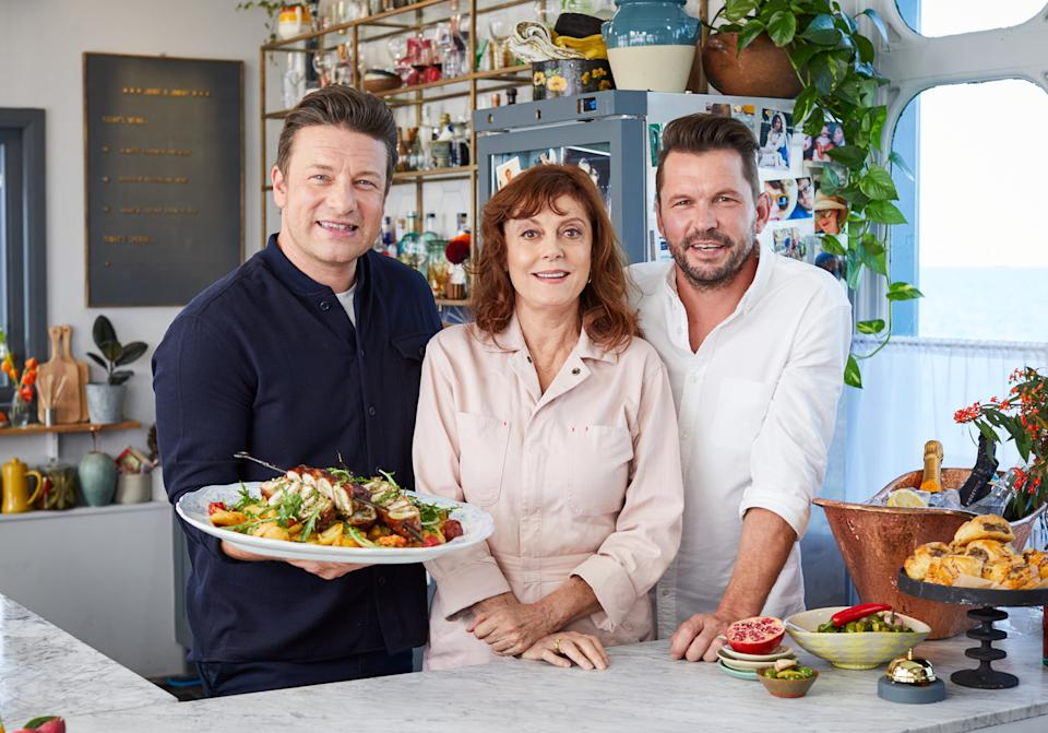 Jamie Oliver, Susan Sarandon and Jimmy Doherty cook together on Friday Night Feast for Channel 4 (Steve Ryan)