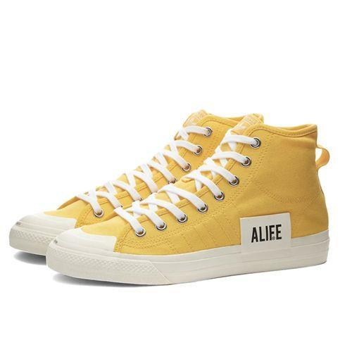 "<p><a class=""link rapid-noclick-resp"" href=""https://www.endclothing.com/gb/adidas-consortium-x-alife-nizza-hi-fx2619.html"" rel=""nofollow noopener"" target=""_blank"" data-ylk=""slk:SHOP"">SHOP</a></p><p>Alife is the sort of New York brand that predates the whole New York new prep thing. That means it has plenty of brand capital. And, you can multiply that by 10 when said brand partners with Adidas Consortium for big colour at a small price.</p><p>Nizz Hi-Tops, <del>£100</del> £65, <a href=""https://www.endclothing.com/gb/adidas-consortium-x-alife-nizza-hi-fx2619.html"" rel=""nofollow noopener"" target=""_blank"" data-ylk=""slk:endclothing.com"" class=""link rapid-noclick-resp"">endclothing.com</a></p>"