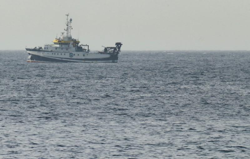 The Spanish vessel Angeles Alvarino carries out a search operation near the coast of Tenerife island