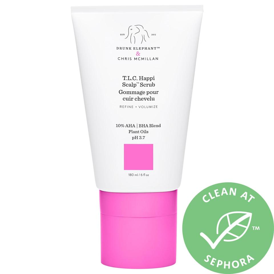 """<p>For anyone stretching time between shampoos or dealing with product buildup, this <a href=""""https://www.popsugar.com/buy/Drunk-Elephant-TLC-Happi-Scalp-Scrub-560499?p_name=Drunk%20Elephant%20T.L.C.%20Happi%20Scalp%20Scrub&retailer=sephora.com&pid=560499&price=36&evar1=bella%3Aus&evar9=47520410&evar98=https%3A%2F%2Fwww.popsugar.com%2Fbeauty%2Fphoto-gallery%2F47520410%2Fimage%2F47520427%2FDrunk-Elephant-TLC-Happi-Scalp-Scrub&list1=hair%2Csephora%2Cshampoo%2Cconditioner%2Cbeauty%20shopping%2Cstaying%20home&prop13=mobile&pdata=1"""" class=""""link rapid-noclick-resp"""" rel=""""nofollow noopener"""" target=""""_blank"""" data-ylk=""""slk:Drunk Elephant T.L.C. Happi Scalp Scrub"""">Drunk Elephant T.L.C. Happi Scalp Scrub</a> ($36) exfoliates the scalp thanks to an AHA/BHA acid blend inside.<br><br><em>Love all things beauty? Can't get enough products? Come join our Facebook Group, <a href=""""https://www.facebook.com/groups/389401751481325/"""" class=""""link rapid-noclick-resp"""" rel=""""nofollow noopener"""" target=""""_blank"""" data-ylk=""""slk:Real Reviews With POPSUGAR Beauty""""><span class=""""s1"""">Real Reviews With POPSUGAR Beauty</span></a> There are lots of fun conversations happening there, as well as all the product recommendations you could ask for - not just from us, but also community members, too.</em></p>"""