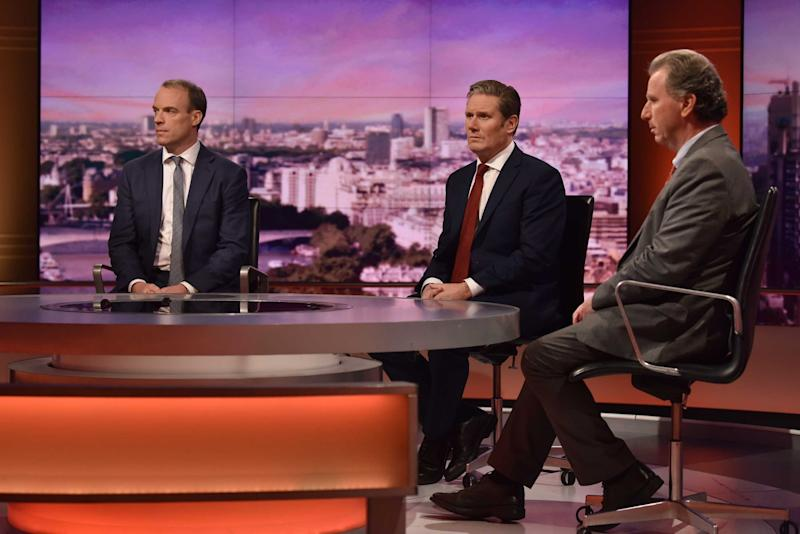 Dominic Raab and Keir Starmer on The Andrew Marr Show this morning. (Getty Images)