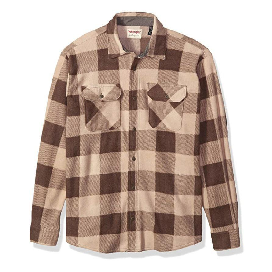 """<p><strong>Wrangler</strong></p><p>amazon.com</p><p><strong>$19.99</strong></p><p><a href=""""https://www.amazon.com/dp/B073JVQ23K?tag=syn-yahoo-20&ascsubtag=%5Bartid%7C2141.g.29492086%5Bsrc%7Cyahoo-us"""" rel=""""nofollow noopener"""" target=""""_blank"""" data-ylk=""""slk:Shop Now"""" class=""""link rapid-noclick-resp"""">Shop Now</a></p><p>Every father needs a solid flannel shirt, and this one from Wrangler is about as good as they come. He'll enjoy looking great while staying warm, and it even doubles as a jacket in warmer weather.</p>"""