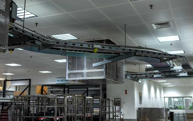 The catering facility houses a monorail system that is used to transport items from one area to the other. | Talia Avakian