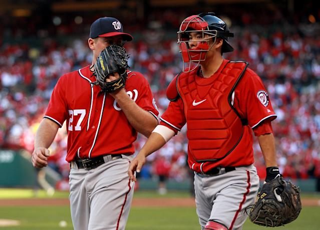 ST LOUIS, MO - OCTOBER 08: Jordan Zimmermann #27 and Kurt Suzuki #24 of the Washington Nationals talk after Zimmerman allows four runs in the second inning against the St. Louis Cardinals during Game Two of the National League Division Series at Busch Stadium on October 8, 2012 in St Louis, Missouri. (Photo by Dilip Vishwanat/Getty Images)