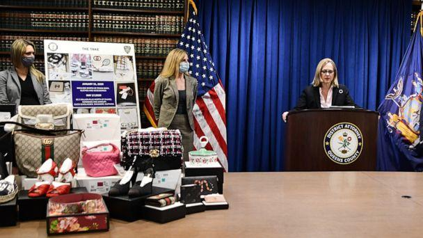PHOTO: Queens DA Melinda Katz discusses alleged cargo heists while surrounded by evidence at a press briefing on Oct. 29, 2020. (ABC News)