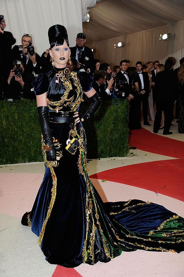 <p>Katy Perry wore this gothic-looking gown to this year's Met Gala. <i>(Photo by Rabbani and Solimene Photography/Getty Images)</i> </p>