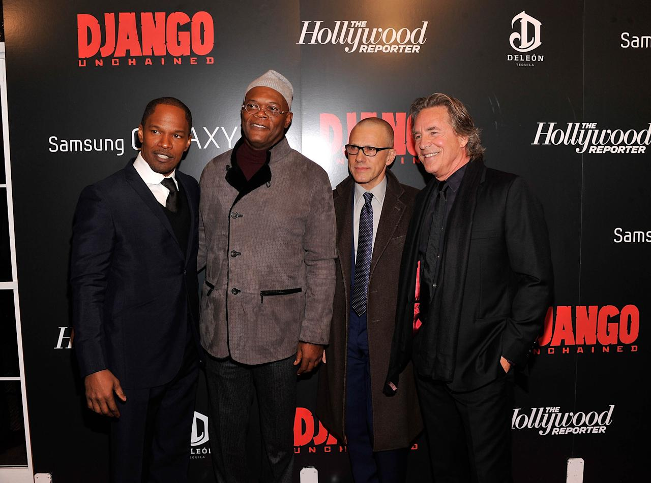 "NEW YORK, NY - DECEMBER 11:  Jamie Foxx, Samuel L. Jackson, Christoph Waltz and Don Johnson attend a screening of ""Django Unchained"" hosted by The Weinstein Company with The Hollywood Reporter, Samsung Galaxy and The Cinema Society at Ziegfeld Theater on December 11, 2012 in New York City.  (Photo by Stephen Lovekin/Getty Images)"