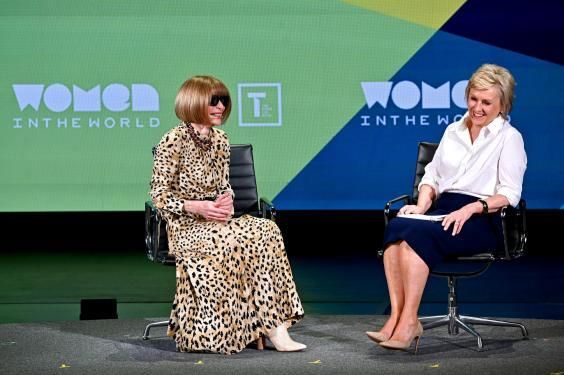 Anna Wintour and Tina Brown speak during the 10th Anniversary Women In The World Summit at David H. Koch Theater at Lincoln Center on April 12, 2019 (Getty Images)