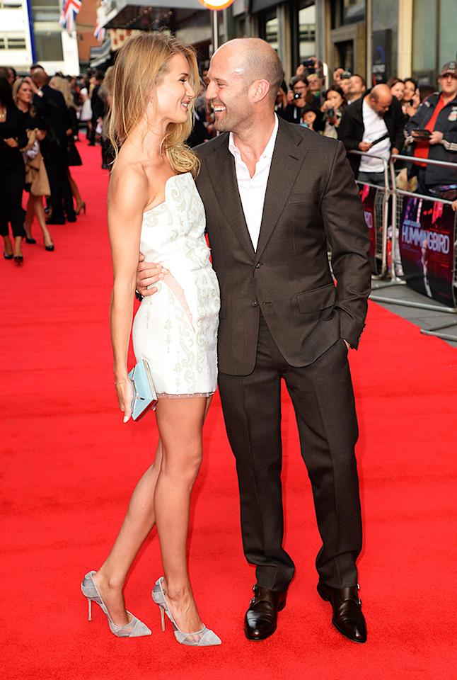 LONDON, ENGLAND - JUNE 17:  Rosie Huntington-Whiteley and Jason Statham attend the UK premiere of 'Hummingbird' at The Odeon West End on June 17, 2013 in London, England.  (Photo by Dave J Hogan/Getty Images)