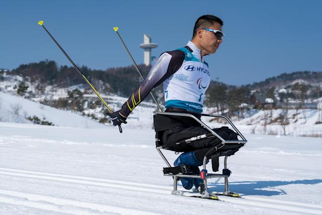 Congjun Xu CHN competes during the Cross-Country Skiing sitting Men's 15km at the Alpensia Biathlon Center. The Paralympic Winter Games, PyeongChang, South Korea, Sunday 11th March 2018. OIS/IOC/Bob Martin/Handout via Reuters