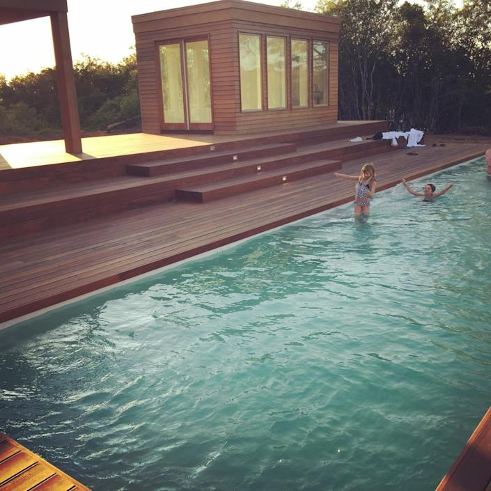 """<p>Laura says the 50-foot ozone-sanitized backyard swimming pool is perfect for """"anyone who is training for a triathlon or any sort of swimming sport.""""<br></p>"""