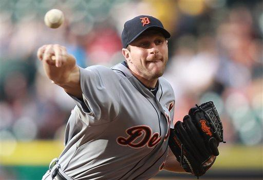Detroit Tigers starter Max Scherzer throws a pitch during the first inning of a baseball game against the Houston Astros, Saturday, May 4, 2013, in Houston. (AP Photo/Patric Schneider)