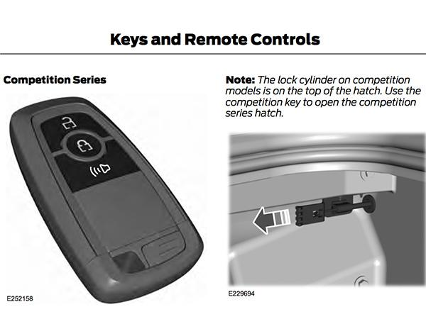 The Competition Series Is Mentioned Pn Page  Of The Manual When Speaking About The Key Fob And How It Does Not Have A Button To Trigger The Rear Hatch