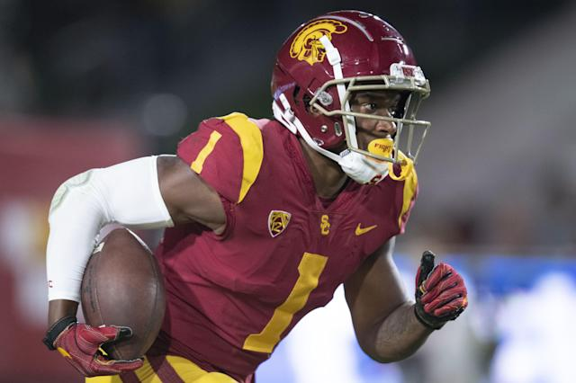 Southern California wide receiver Velus Jones Jr. in an NCAA football game against Fresno State Saturday, Sept. 31, 2019, in Los Angeles. (AP Photo/Kyusung Gong)