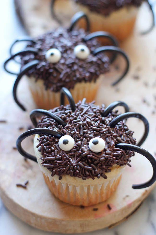 "<p>Licorice for legs? Brilliant.</p><p>Get the recipe from <a href=""https://damndelicious.net/2013/10/22/halloween-spider-cupcakes/"" rel=""nofollow noopener"" target=""_blank"" data-ylk=""slk:Damn Delicious"" class=""link rapid-noclick-resp"">Damn Delicious</a>.</p>"