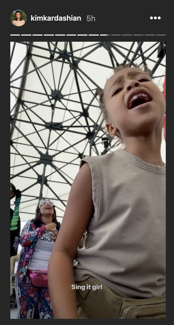 Kanye West's daughter North sings at his Sunday Service event. (Photo: Kim Kardashian via Instagram)