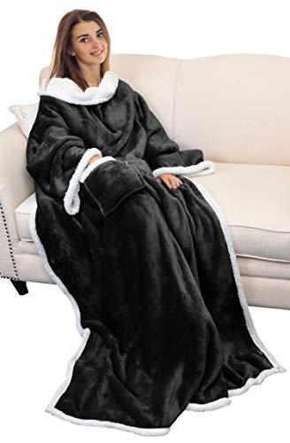 Catalonia Sherpa Wearable Blanket with Sleeves Arms,Super Soft Warm Comfy Large Fleece Plush Sleeved TV Throws Wrap Robe Blanket for Adult Women and Men Black (Amazon / Amazon)