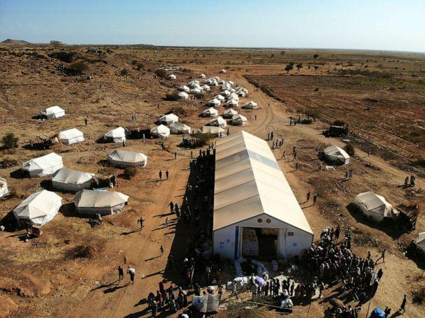 PHOTO: A picture taken by a drone shows an aerial view of the Um Rakuba refugee camp which houses Ethiopians fleeing the fighting in the Tigray region, on the the border in Sudan, Dec. 3, 2020. (Baz Ratner/Reuters)