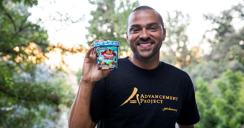 Jesse Williams promotes the new flavor, Justice ReMix'd, from Ben and Jerry's. (Photo: Ben and Jerry's)