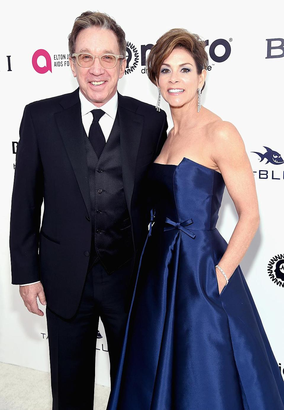 <p>Tim Allen and Jane Allen attend the 25th Annual Elton John AIDS Foundation's Academy Awards Viewing Party at The City of West Hollywood Park on February 26, 2017 in West Hollywood, California. (Photo by Jamie McCarthy/Getty Images for EJAF) </p>