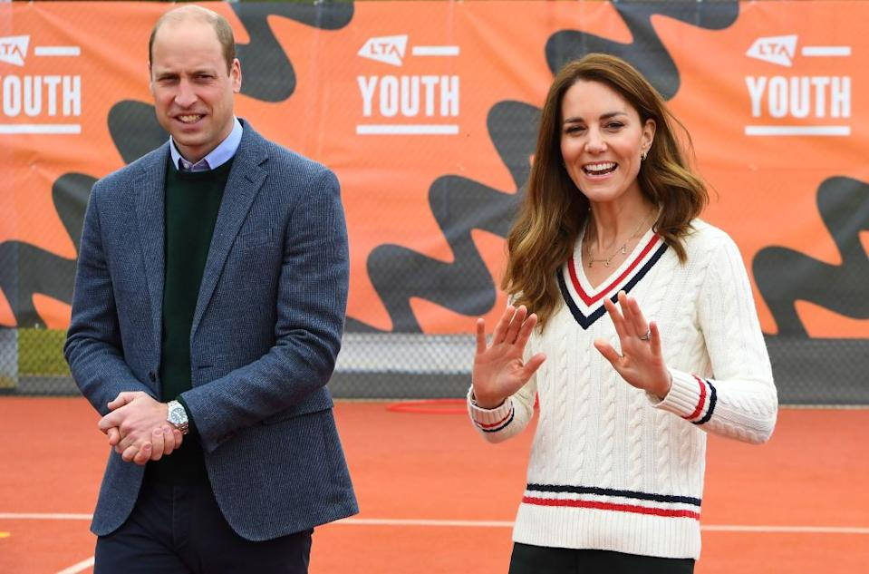 The Duchess of Cambridge looked preppy-chic during a visit to an Edinburgh tennis club. (Photo by Andy Buchanan - WPA Pool/Getty Images)