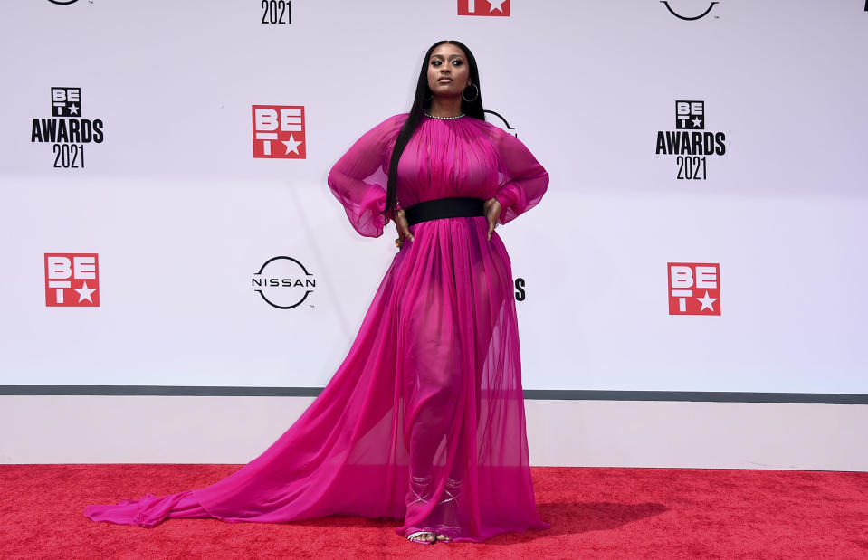 Jazmine Sullivan arrives at the BET Awards on Sunday, June 27, 2021, at the Microsoft Theater in Los Angeles. (Photo by Jordan Strauss/Invision/AP)