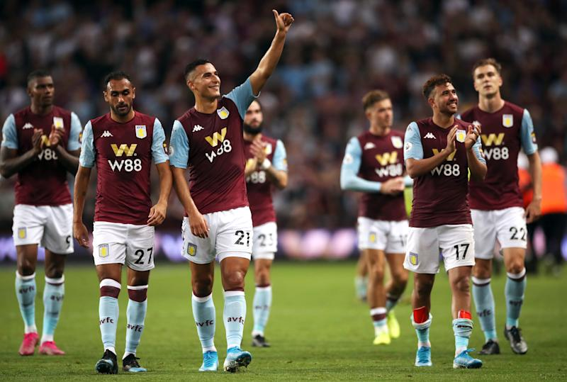 Aston Villa's Anwar El Ghazi (centre left) and team-mates celebrates victory after the Premier League match at Villa Park, Birmingham. (Photo by Nick Potts/PA Images via Getty Images)