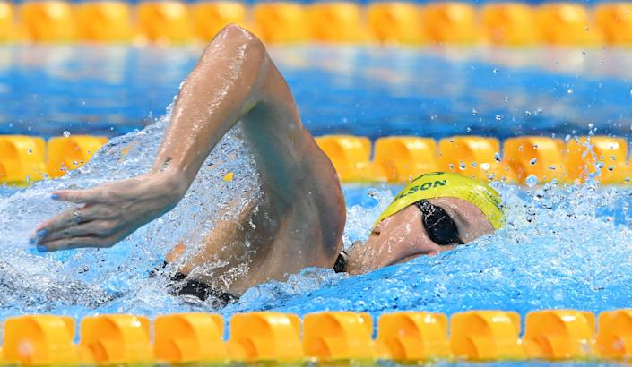 Australia's Madison Wilson competes in  the final of the women's 4x200m freestyle relay swimming event during the Tokyo 2020 Olympic Games at the Tokyo Aquatics Centre in Tokyo on July 29, 2021.
