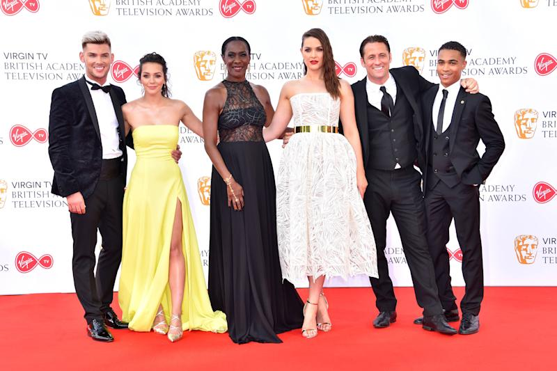 The cast of Hollyoaks attending the Virgin TV British Academy Television Awards 2018 held at the Royal Festival Hall, Southbank Centre, London.