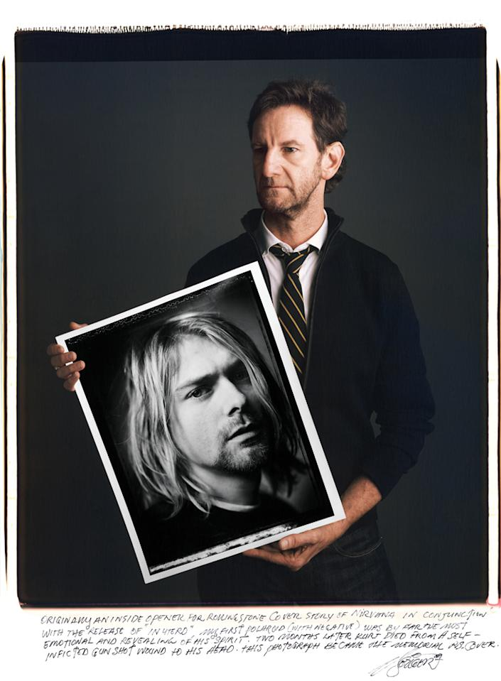 "Mark Seliger - ""Originally an inside opener for Rolling Stone cover story of Nirvana in conjunction with the release of In Utero, my first Polaroid (with Negative) was by far the most emotional and revealing of his spirit. Two months later Kurt died from a self-inflicted gunshot wound to his head. This photograph became the memorial RS cover."" <br> <br> Photo: Tim Mantoani"