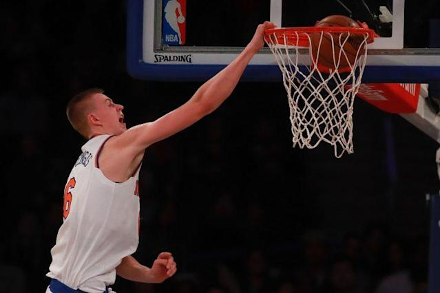 A particularly cantankerous fan base is counting on Kristaps Porzingis to save them. (Getty Images)