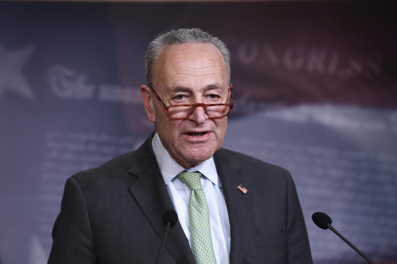 Senate Minority Leader Sen. Chuck Schumer of N.Y., speaks during a news conference on Capitol Hill in Washington, Tuesday, March 17, 2020. (Susan Walsh/AP)