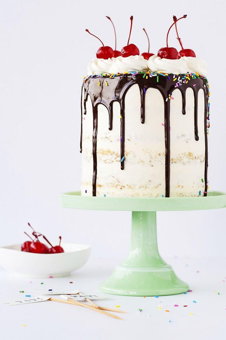 """<p>Transform a creamy classic into a stunning dessert like this blogger's banana split cake, layered with pineapple and strawberry fillings.</p><p><a href=""""https://livforcake.com/banana-split-layer-cake/"""" rel=""""nofollow noopener"""" target=""""_blank"""" data-ylk=""""slk:Get the recipe at Liv for Cake."""" class=""""link rapid-noclick-resp""""><em><strong>Get the recipe at Liv for Cake.</strong></em></a></p>"""