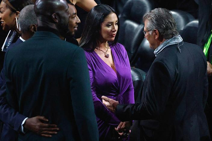 <p>University of Connecticut women's basketball coach Geno Auriemma, who would have potentially coached Gianna Bryant in college, was on hand to offer support Saturday night.</p>