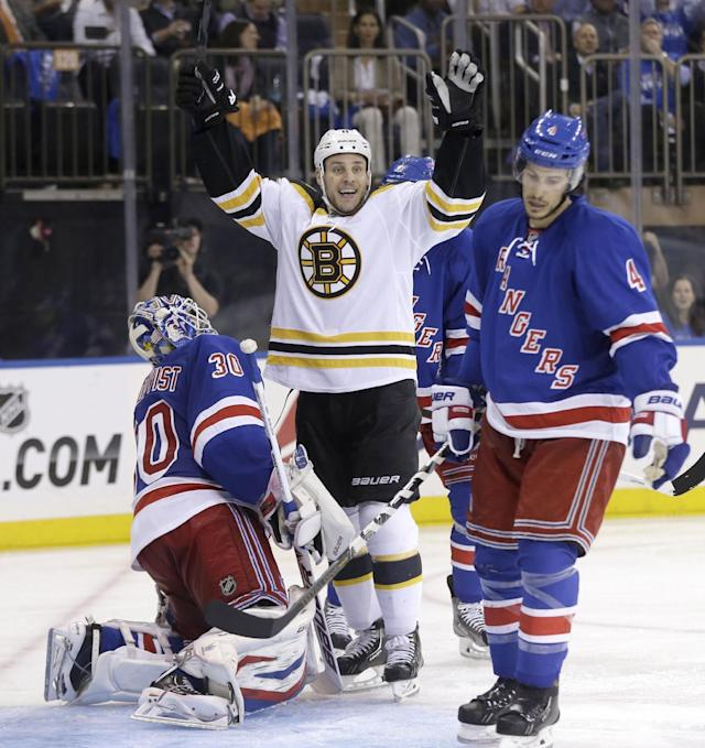 Boston Bruins' Gregory Campbell, center, reacts along with New York Rangers goalie Henrik Lundqvist, left, and Michael Del Zotto to a goal by Boston Bruins' Johnny Boychuk during the third period in Game 3 of the Eastern Conference semifinals in the NHL hockey Stanley Cup playoffs in New York Tuesday, May 21, 2013, in New York. The Bruins won 2-1 and lead the best-of-seven games series 3-0. (AP Photo/Seth Wenig)