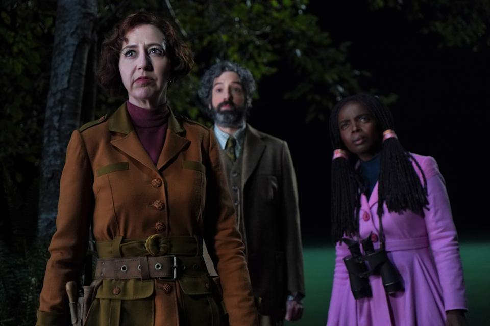 Tony Hale as Mr. Benedict, Kristen Schaal as Number Two and MaameYaa Boafo as Rhonda Kazembe in