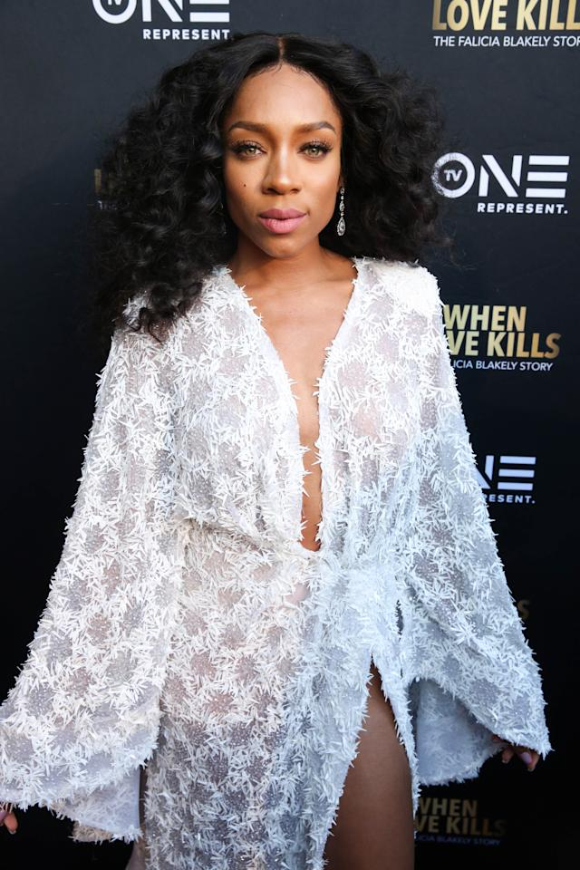<p>Lil Mama is shinin', shinin', shinin', yeah in this Diana Ross-inspired look made complete with big hair, soft makeup and, of course, a flowy dress. (Photo: Getty Images) </p>