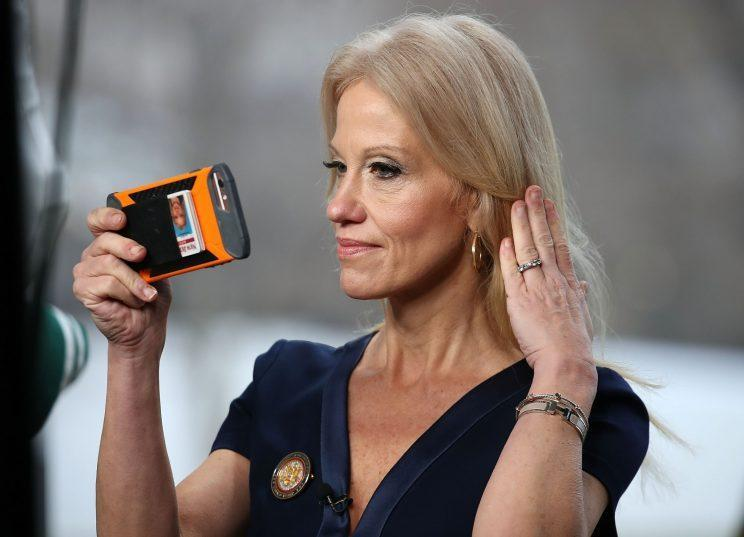 "Kellyanne Conway gets ready to appear on ""Meet the Press."" (Mark Wilson/Getty Images)"