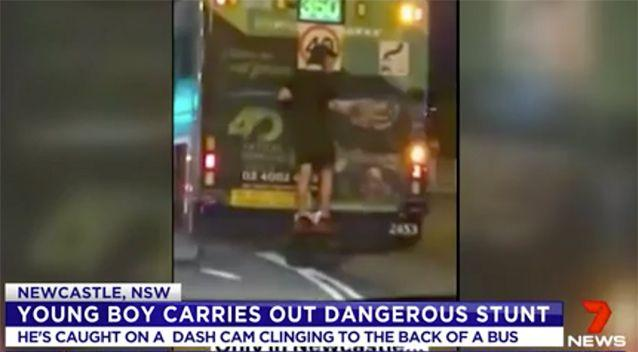The boy was seen clinging to the back of a bus. Source: 7 News