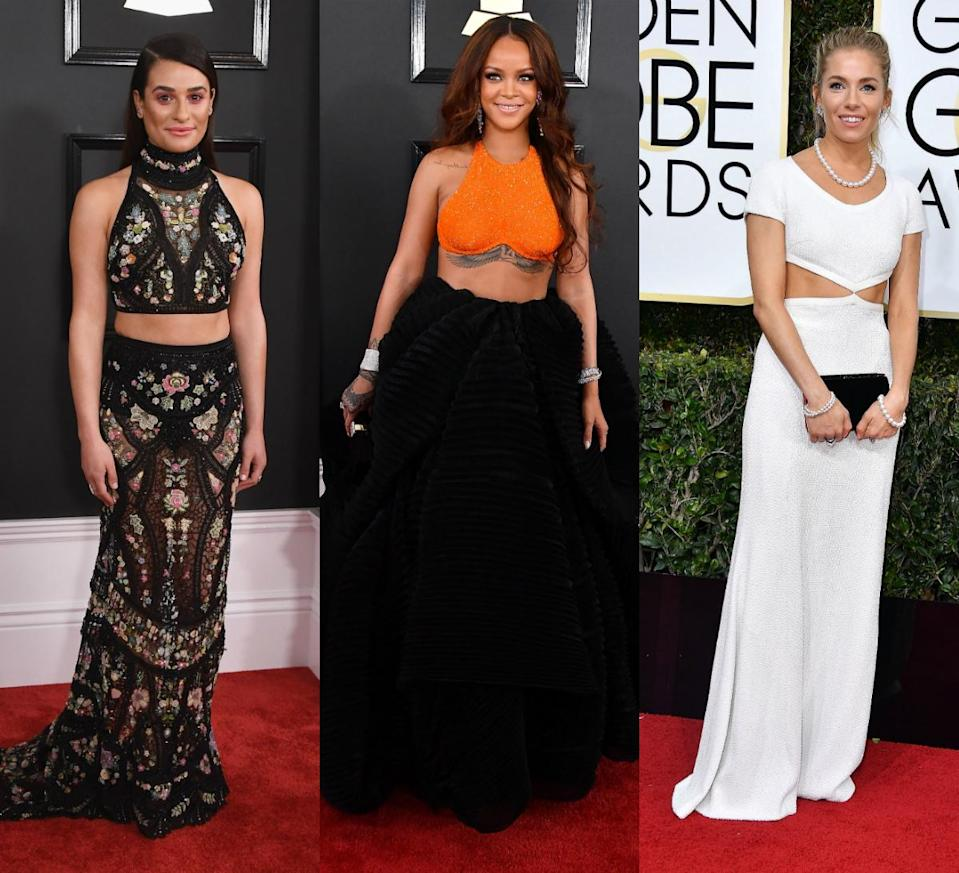 <p>Yes, that's right, crop tops are now on the red carpet. Thanks to Rihanna and Lea Michelle rocking them at the Grammy's it looks like the beginning of a new trend. [Photo: Getty] </p>