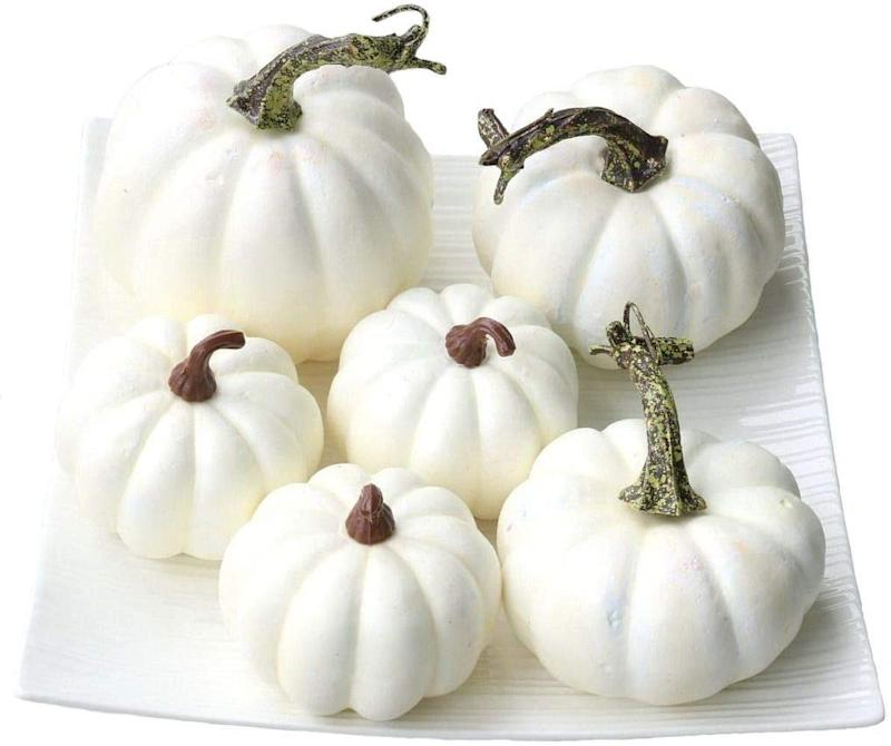 Gresorth 6 PCS Fake White Pumpkins Fall Autumn Halloween