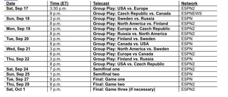 Screen shot of World Cup of Hockey broadcast schedule.