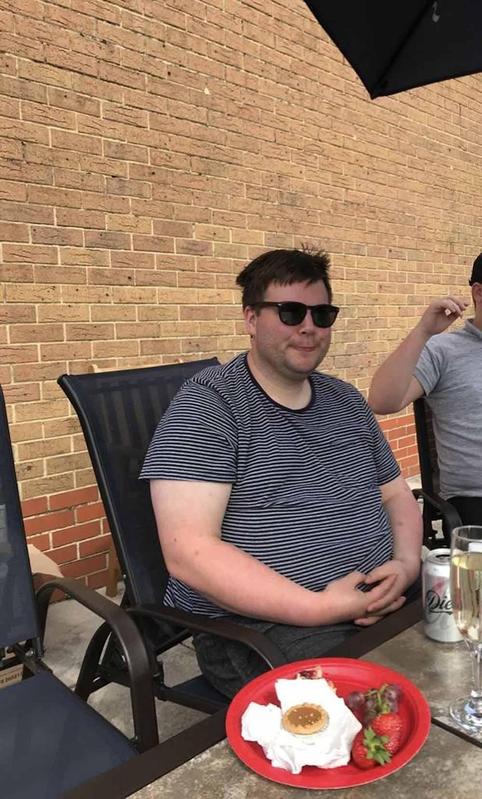 Rhys pictured at a barbeque before losing weight. PA REAL LIFE