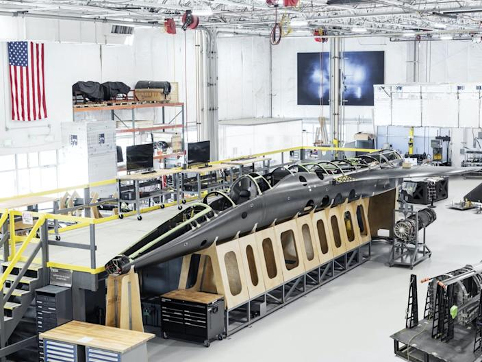 A Boom Supersonic XB-1 aircraft in the making.