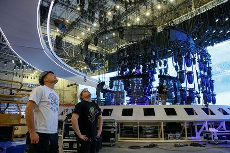Workers prepare stage for Eurovision Song Contest 2017 at International Exhibition Centre in Kiev