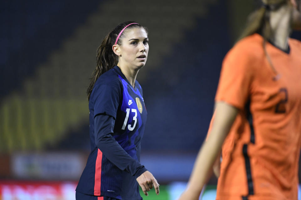United States Alex Morgan reacts during the international friendly women's soccer match between The Netherlands and the US at the Rat Verlegh stadium in Breda, southern Netherlands, Friday Nov. 27, 2020. (Piroschka van de Wouw/Pool via AP)