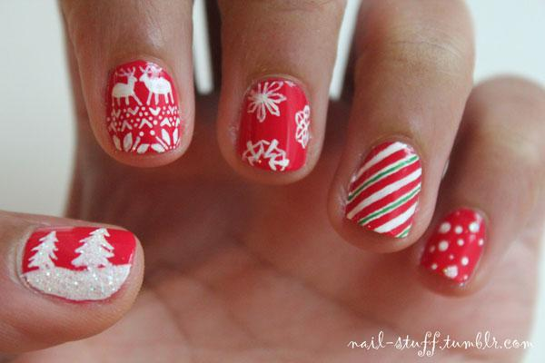 Best Christmas nail art © nail-stuff / tumblr