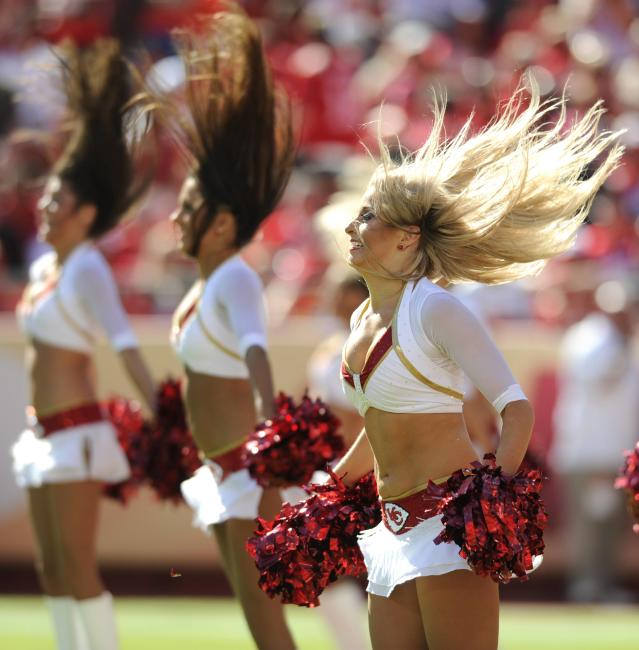 Kansas City Chiefs cheerleaders perform during the second half of their NFL football game against the New York Giants in Kansas City, Missouri September 29, 2013. REUTERS/Dave Kaup (UNITED STATES - Tags: SPORT FOOTBALL)
