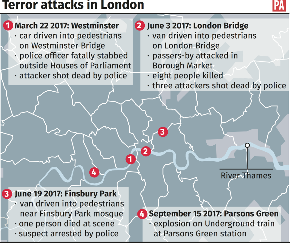 Where the previous London terror attacks have taken place this year (PA)