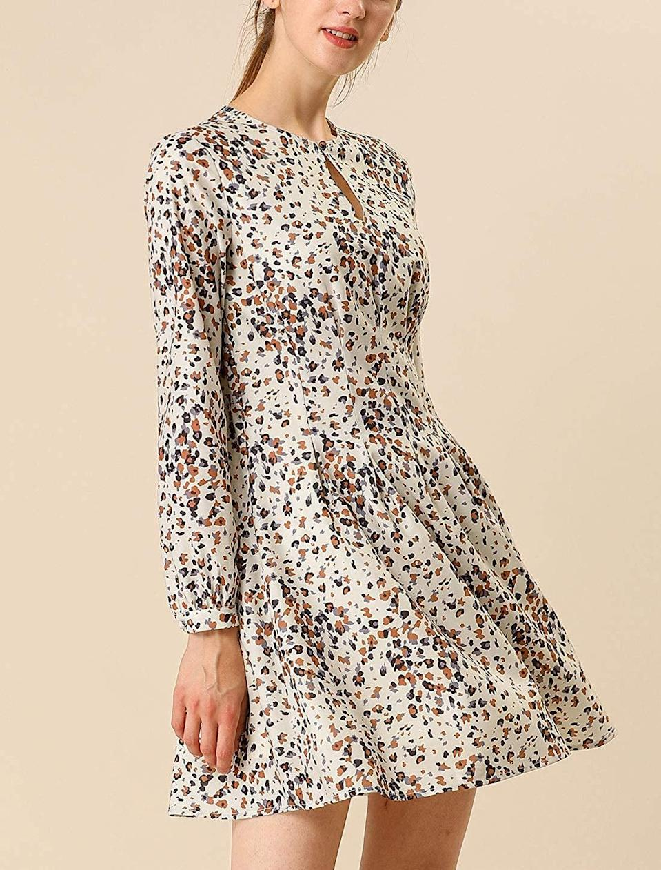 <p>The leopard print on this <span>Allegra K A-Line Dress</span> ($35) is perfect to wear with sandals this season.</p>
